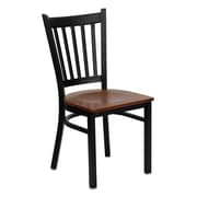 Flash Furniture HERCULES Series Black Vertical Back Metal Restaurant Chair, Cherry Wood Seat, 4/Pack