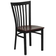 Flash Furniture  Hercules Series Black School House Back Metal Restaurant Chair, Mahogany Wood Seat, (XUDG6Q4BSCHMAHW)
