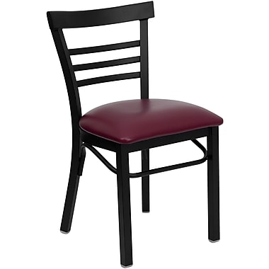 Flash Furniture HERCULES Series Black Ladder Style Back Metal Restaurant Chair, Burgundy Vinyl Seat, 24/Pack