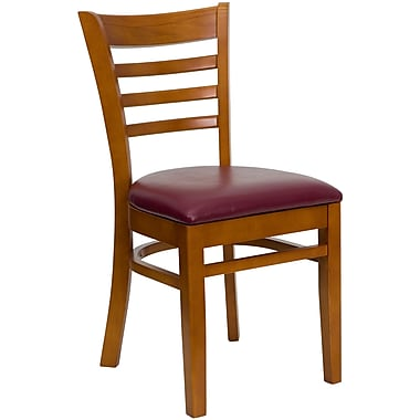 Flash Furniture HERCULES Series Cherry Wood Ladder Back Restaurant Chair, Burgundy Vinyl Seat, 16/Pack