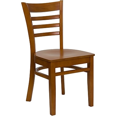 Flash Furniture HERCULES Series Cherry Wood Ladder Back Restaurant Chair, 16/Pack