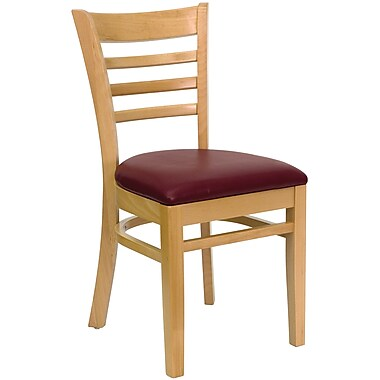 Flash Furniture HERCULES Series Natural Wood Ladder Back Restaurant Chair, Burgundy Vinyl Seat, 16/Pack