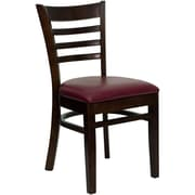 Flash Furniture HERCULES Series Walnut Wood Ladder Back Restaurant Chair, Burgundy Vinyl Seat, 16/Pack