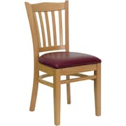 Flash Furniture HERCULES Series Natural Wood Vertical Slat Back Restaurant Chair, Burgundy Vinyl Seat, 4/Pack