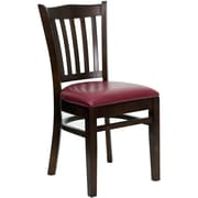Flash Furniture HERCULES Series Walnut Wood Vertical Slat Back Restaurant Chair, Burgundy Vinyl Seat, 16/Pack