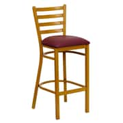 Flash Furniture HERCULES Series Natural Woodgrain Ladder Back Metal Restaurant Bar Stool, Burgundy Vinyl Seat