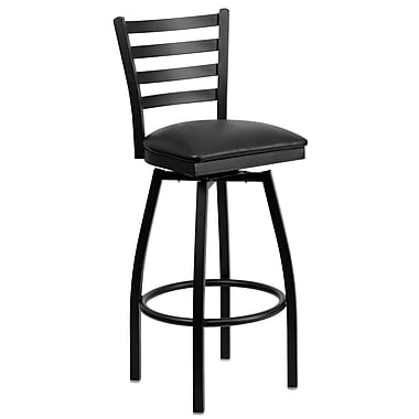 Flash Furniture HERCULES Black Ladder Back Swivel Metal Bar Stool W/Vinyl Seat, Black