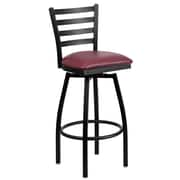 Flash Furniture HERCULES Series Black Ladder Back Swivel Metal Bar Stool, Burgundy Vinyl Seat, 2/Pack