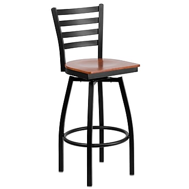Flash Furniture HERCULES Series Black Ladder Back Swivel Metal Bar Stool, Cherry Wood Seat