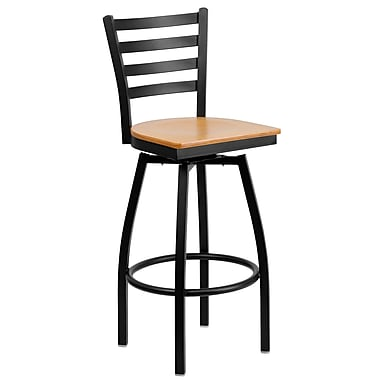 Flash Furniture HERCULES Series Black Ladder Back Swivel Metal Bar Stool, Natural Wood Seat