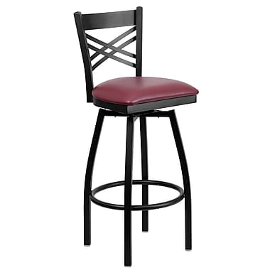 Flash Furniture HERCULES Series Black in.Xin. Back Swivel Metal Bar Stool, Burgundy Vinyl Seat, 2/Pack
