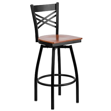 Flash Furniture HERCULES Black ''X'' Back Swivel Metal Bar Stool W/Wood Seat, Cherry