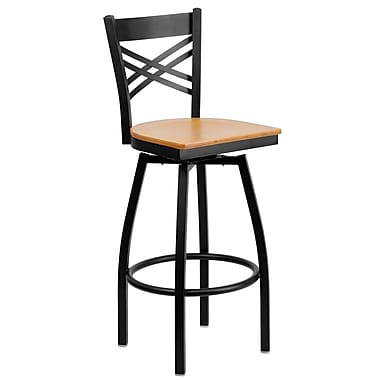 Flash Furniture HERCULES Series Black in.Xin. Back Swivel Metal Bar Stool, Natural Wood Seat, 2/Pack