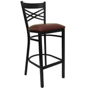 Flash Furniture HERCULES Series Black X Back Metal Restaurant Bar Stool, Burgundy Vinyl Seat