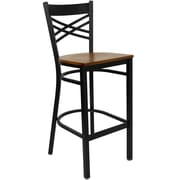 "Flash Furniture HERCULES Series Black ""X"" Back Metal Restaurant Bar Stool, Cherry Wood Seat"