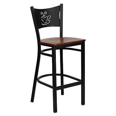 Flash Furniture HERCULES Series Black Coffee Back Metal Restaurant Bar Stool, Cherry Wood Seat