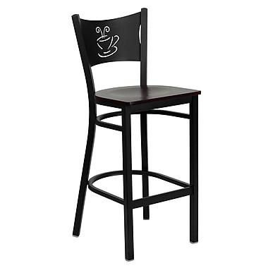 Flash Furniture HERCULES 42.25'' Coastal Foot Ring/Bar Bar Stool, Mahogany Wood Seat (XUDG614COFBMAHW)