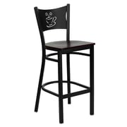 Flash Furniture HERCULES Series Black Coffee Back Metal Restaurant Bar Stool, Mahogany Wood Seat