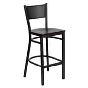 Flash Furniture HERCULES Series Black Grid Back Metal Restaurant Bar Stool, Mahogany Wood Seat