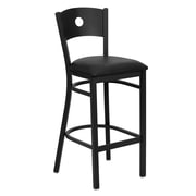 Flash Furniture HERCULES Series Black Circle Back Metal Restaurant Bar Stool, Black Vinyl Seat