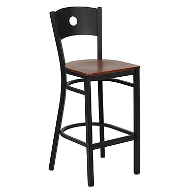 Flash Furniture HERCULES Series Black Circle Back Metal Restaurant Bar Stool, Cherry Wood Seat
