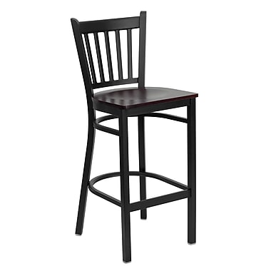 Flash Furniture HERCULES Series Black Vertical Back Metal Restaurant Bar Stool, Mahogany Wood Seat