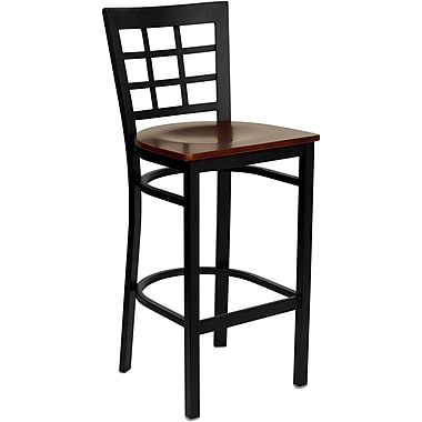 Flash Furniture HERCULES Series Black Window Back Metal Restaurant Bar Stool, Mahogany Wood Seat