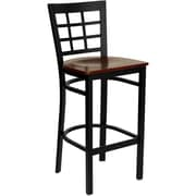 Flash Furniture HERCULES Series Black Window Back Metal Restaurant Bar Stool, Mahogany Wood Seat