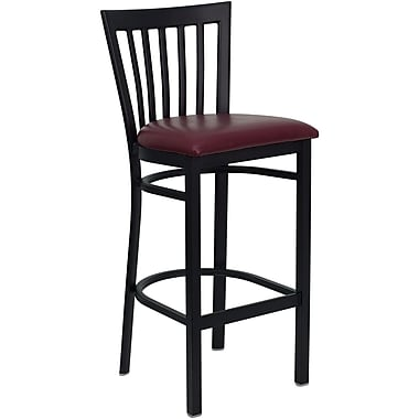 Flash Furniture HERCULES Series Black School House Back Metal Restaurant Bar Stool, Burgundy Vinyl Seat