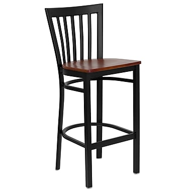 Flash Furniture HERCULES Series Black School House Back Metal Restaurant Bar Stool, Cherry Wood Seat