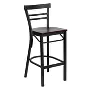 Flash Furniture HERCULES Series Black Ladder Style Back Metal Restaurant Bar Stool, Mahogany Wood Seat