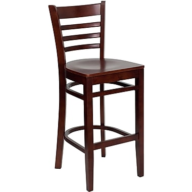 Flash Furniture HERCULES Series Mahogany Wood Ladder Back Restaurant Bar Stool