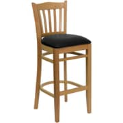 Flash Furniture HERCULES Series Natural Wood Vertical Slat Back Restaurant Bar Stool, Black Vinyl Seat