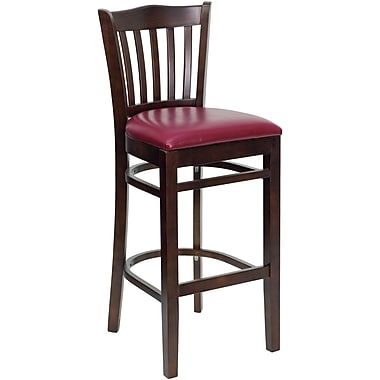 Flash Furniture HERCULES Series Walnut Wood Vertical Slat Back Restaurant Bar Stool, Burgundy Vinyl Seat