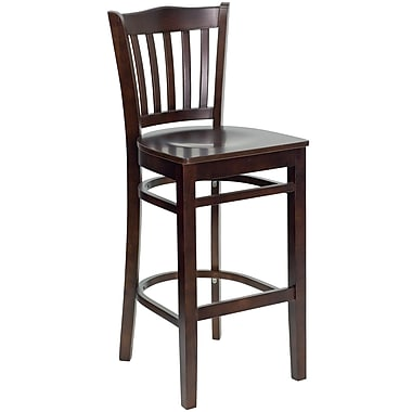 Flash Furniture HERCULES Series Walnut Wood Vertical Slat Back Restaurant Bar Stool