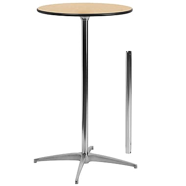 Flash Furniture 24'' Round Wood Cocktail Table with 30'' and 42'' Columns, Birchwood
