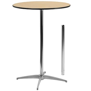 Flash Furniture 30'' Round Wood Cocktail Table with 30'' and 42'' Columns, Birchwood