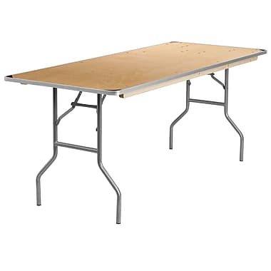 Flash Furniture 30'' x 72'' Rectangular Folding Banquet Table with Metal Edges and Protective Corner Guards, Birchwood