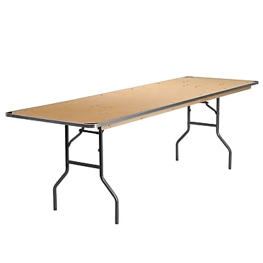 Flash Furniture 30'' x 96'' Rectangular Folding Banquet Table with Metal Edges and Protective Corner Guards, Birchwood