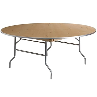 Flash Furniture 72'' Round Heavy Duty Folding Banquet Table with Metal Edges, Birchwood