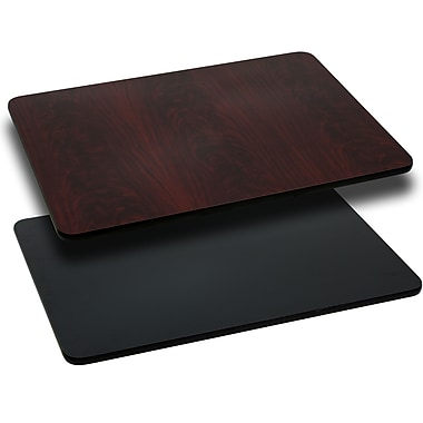 Flash Furniture 30'' x 45'' Rectangular Reversible Laminate Table Top, Black or Mahogany