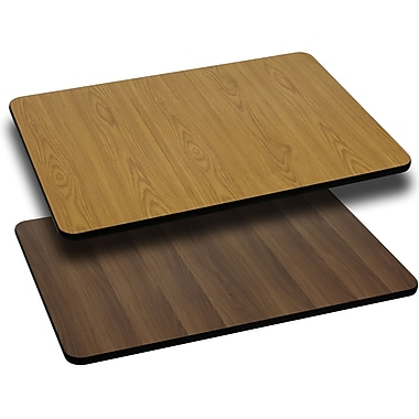 Flash Furniture 30'' x 42'' Rectangular Reversible Laminate Table Top, Natural or Walnut