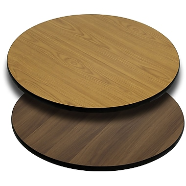 Flash Furniture 24'' Round Reversible Laminate Table Top, Natural or Walnut