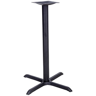 Flash Furniture 30'' x 30'' Cast Iron Restaurant Table X-Base with 3'' Dia. Bar Height Column, Black
