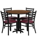 Flash Furniture 36'' Round Walnut Laminate Table Set with X-Base and 4 Ladder Back Metal Chairs, Burgundy Vinyl Seat