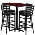 Flash Furniture 24''Wx42''L X-Base Rectangular Table Set W/4 Ladder Back Bar Stools
