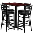 Flash Furniture 24''Wx42''L X-Base Rectangular Table Set W/4 Ladder Back Bar Stools, Mahogany/Black