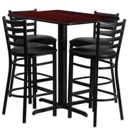 Flash Furniture 24''W x 42''L Rectangle Mahogany Laminate X-Base Table Set with 4 Ladder Back Metal Bar Stools, Black Vinyl Seat