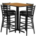 Flash Furniture 24''W x 42''L Rectangle Natural Laminate X-Base Table Set with 4 Ladder Back Metal Bar Stools, Black Vinyl Seat