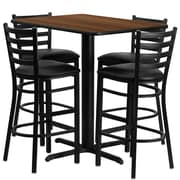 Flash Furniture 24''W x 42''L Rectangle Walnut Laminate X-Base Table Set with 4 Ladder Back Metal Bar Stools, Black Vinyl Seat